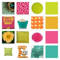 Moodboard colors chartreuse, tangering, hot pink, and teal