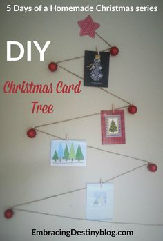 Step by step instructions with photos to make a pretty and practical DIY Christmas Card Tree to display the Christmas cards you get this year!