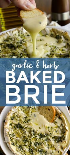 This Garlic and Herb Baked Brie topped with fresh herbs and loads of garlic is the ultimate appetizer for garlic lovers! It is elegant enough for holiday gatherings and easy enough for casual get-togethers. Baked Brie Appetizer, Cheese Appetizers, Yummy Appetizers, Appetizer Recipes, Easter Recipes, Fall Recipes, Brie Cheese Recipes, Baked Brie Recipes, Baked Brie Toppings