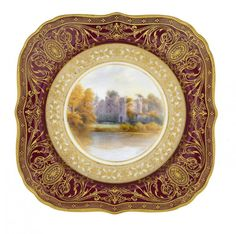 antique plate cabinet | Antique Royal Worcester Cabinet Plate - Guy's Cliff by Harry Davis