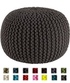 Cotton Craft - Hand Knitted Cable Style Dori Pouf - Grey - Floor Ottoman - Cotton Braid Cord - Handmade & Hand stitched - Truly one of a kind seating - 20 Dia x 14 High Cotton Craft Natural Flooring, Grey Flooring, Lego Table With Storage, Ottoman, Knitted Pouf, Jute Fabric, Cotton Fabric, Home Bar Furniture, Cotton Crafts