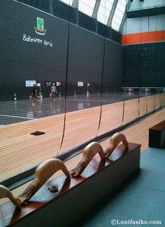 Baskets waiting their turn in Gernika Jai Alai fronton