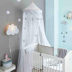 Ciel de lit enfant blanc et gris H ...