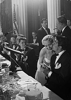 classickat:  Dean Martin, Jerry Lewis, and Marie Wilson at a Friar's Club event, 1951.