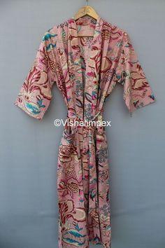 Tie Styles, Collar Styles, Bath Robes For Women, Hand Printed Fabric, Cotton Kimono, Maxi Gowns, Kimono Dress, V Neck Dress, Types Of Sleeves