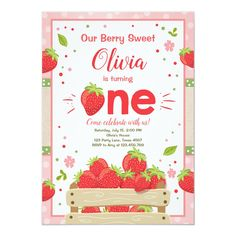 Strawberry First Birthday Invitation Summer Fruit - invitations personalize custom special event invitation idea style party card cards Strawberry Shortcake Birthday, Fruit Birthday, Summer Birthday, Strawberry Farm, First Birthday Theme Girl, First Birthday Parties, First Birthdays, Birthday Ideas, 2nd Birthday