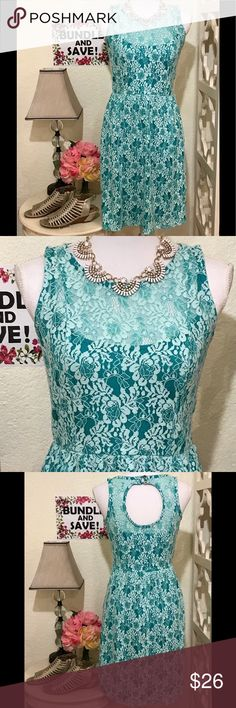TURQUOISE & LACE💖 PRETTY SUMMER Dress. Worn once to a bsby shower. Light and breezy. 2-button Mother-of-Pearl back closure with cutout. Soft, stretch fabric. Casual outting or special occasion🌸🌟 Dresses