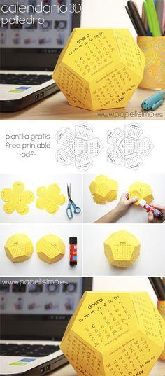 3d polyhedron printable calendar template free pdf