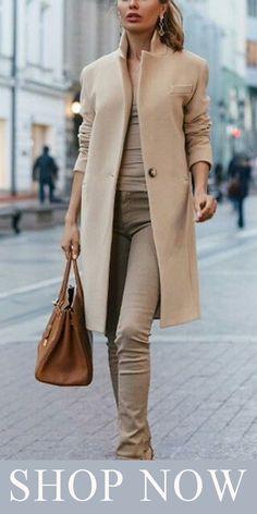 Autumn And Winter Fashion Pure Color Coat Tan Jacket Camel Coat Outfit, Style Feminin, Fashion Outfits, Womens Fashion, Fashion Trends, Fashion Coat, Fashion Updates, Fashion 2016, Winter Coats Women