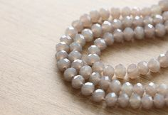 Faceted Glass Beads - 30 pcs of warm grey Faceted Glass Crystal Rondelle Beads Loose Beads - 8 mm