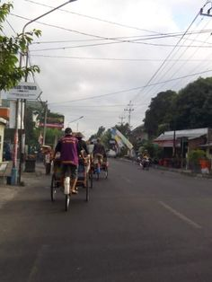 Riding becaks! Becaks are traditional Indonesian transportation. In Yogyakarta, each becak has a licence plate and they are used as public transportation instead of buses.