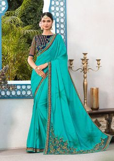 Chiffon Saree No. 8431 This Saree Is Fabricated On Chiffon Paired With Art Silk Fabricated Blouse. It Has Lovely Embroidery Over The Blouse And Saree Border. PM for price Designer Sarees Collection, Saree Collection, Chiffon Saree, Georgette Sarees, Skirt Fashion, Fashion Outfits, Saree Fashion, Fasion, Party Wear Sarees Online