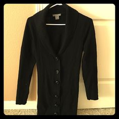 Ann Taylor black cashmere sweater cardigan Black Ann Taylor cashmere sweater cardigan. barely used! 6 buttons. Tie in the back. Great condition! Ann Taylor Sweaters Cardigans