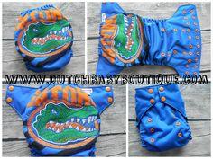 Gators OS Ai2 Cloth Diaper - embroidery and hand applique www.dutchbabyboutique.com www.facebook.com/DutchBabyBoutique