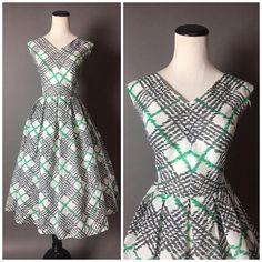Vintage 50s dress / 1950s dress / fit and flare dress / cotton dress / plaid dress / sheer dress / party dress / day dress / 8292
