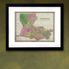 Antique Map of the State of Louisiana ca 1827 by PortofPrints