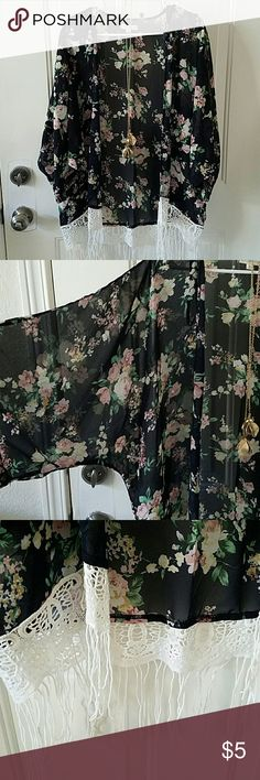 Rachel & Chloe Sheer Floral Shawl sz L Floral print on navy background. Nice and airy for Spring, Summer and Fall. Runs a little big so can fit like XL as well. rachel & chloe Other