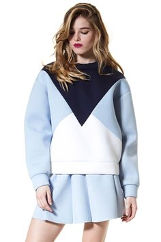 Chloe Color Block Neoprene Top Discover the latest fashion trends online at…