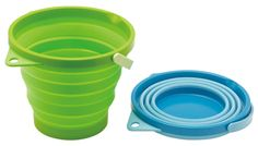 Bucket made from soft material. Folds after use for compact storage. Hangs for storage. Volume 7.8 liters.