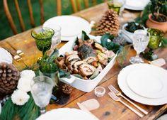fir + cones + green stemware