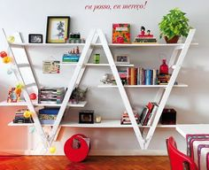Upside Down Ladder Bookshelves - This is so creative! I love the idea. It adds some uniqueness and quirkiness to the space it's in and is an inexpensive way (if you can score some old ladders!) to create more shelf space, which is something I always need more of!