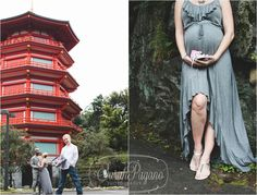 mini-maternity session in front of a Japanese pagoda.by Sarah Pagano Photography