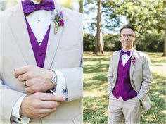 Groom's cufflinks, beige suit and purple vest -  click to view more from this Maryville TN wedding!