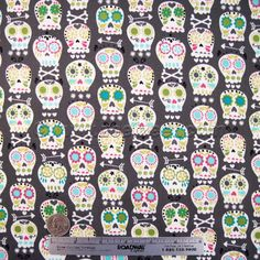 Skull Fabric Michael Miller BONEHEAD Grey Quilt Fabric от zeetzeet
