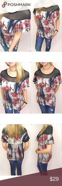 """✂️PRICECUT✂️Sexy Floral Ruffle Mesh Top SML Absolutely beautiful floral mesh neckline top with ruffle detail. A-line, fitted & stretchy. Black, ivory & gray tie dye effect background with dark blush/mauve/green floral pattern. Always love trendy & feminine with a splash of sexy. 96% rayon - 4% spandex ruffle top  Small Bust 32-34 Length 23.5""""  Medium  Bust 36 Length 24""""  Large Bust 38 Length 24.5"""" Tops"""