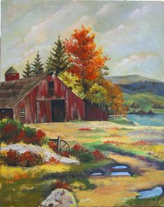 Red Barn in the Fall painting Watercolor Barns, Watercolor Landscape, Landscape Art, Landscape Paintings, Watercolor Paintings, Watercolors, Farm Paintings, Scenery Paintings, Canvas Paintings