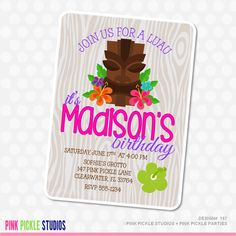 luau invitations, Birthday Party Invitations, personalized thank you cards, birthday invitations, party invitations / No.147