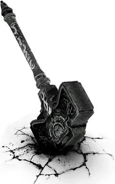 MJOLNIR - this is the war hammer of THOR, the god of lightning, thunder, wind, and rain. MJOINIR is the most feared weapon of the Norse gods. It was believed to be able to knock down giants and entire mountains with only one hit. When thrown, THOR's hammer would return to his hand after hitting its target. It is said that MJOINIR was used by THOR to slay JORMUNGANDR during RAGNAROK.