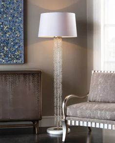 H8PRQ John-Richard Collection Cascading Crystal Waterfall Floor Lamp