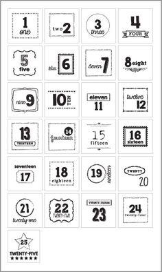 FREE printable advent calendar numbers | for DIY Christmas advent ...