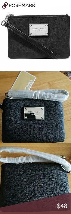 Michael Kors Signature Wristlet Beautiful brand new with tag Michael Kors Jet Set Small Signature Wristlet. MK Signature PVC. Wristlet strap. Top zip closure. Silver tone hardware; monogram print exterior, logo plaque at front. Interior features 3 slip pockets. Color: Black. No stains or damages. 100% authentic. Sorry no trades please. MICHAEL Michael Kors Bags