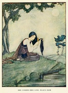 Rie Cramer ~ Grimm's Fairy Tales ~ 1927 The Nix of the Mill Pond - She combed her long black hair...