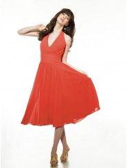 Chiffon Halter V-neck Tea-Length A-line Bridesmaid Dress