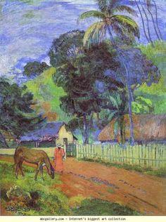 Paul Gauguin. Horse on Road. Tahitian Landscape. Olgas Gallery.
