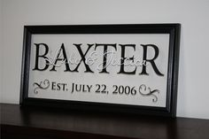 "Name on FRAME Family Name Sign Established Date Last Name Sign Wedding Gift Anniversary Gift or Christmas Gift 9""x19"" on Etsy, $48.95"