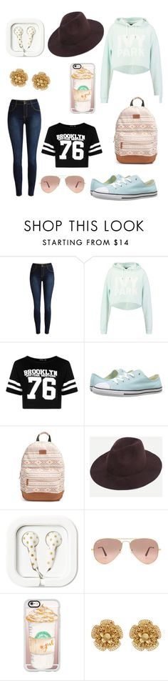 """day out with friends😁😀😅😊☺💖👅💖😜"" by livvylou04 ❤ liked on Polyvore featuring Ivy Park, Boohoo, Converse, Rip Curl, Ray-Ban, Casetify and Miriam Haskell"