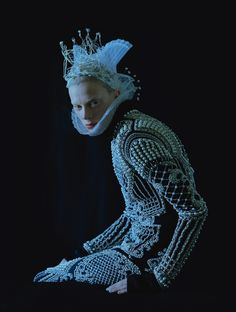 Evil Fairy Prince (Publication: W Magazine Issue: September 2012 Title: Dame Of Thrones Model: Kristen McMenamy Photography: Tim Walker Styling: Jacob K Fashion: Balmain) Foto Fashion, Fashion Week, Fashion Art, Fashion Design, Rococo Fashion, Weird Fashion, Fashion Shoot, Fashion Trends, Gareth Pugh