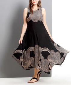 Reborn Collection Black & Taupe Cloud Sleeveless Handkerchief Maxi Dress - Plus   zulily