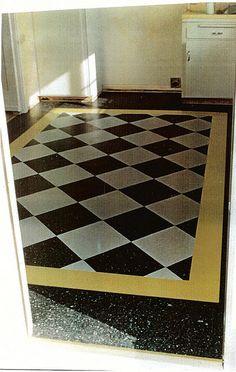 Great idea for a foyer! Linoleum Flooring, Kitchen Flooring, Floors, Queen Anne, Kitchen And Bath, Four Square, Foyer, Baths, Basement