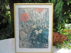 Bild mit Mohnblumen und Schmetterlinge von Vintage4Friends auf Etsy