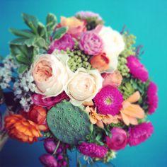 Bright bridal bouquet.