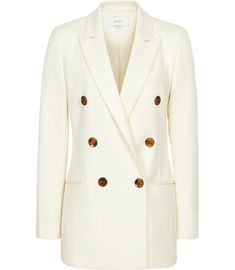 Buy Reiss Aleida Double Breasted Blazer, Off White, 8 from our Women's Coats & Jackets range at John Lewis & Partners. Free Delivery on orders over Swimwear Uk, Coats For Women, Clothes For Women, Iconic Dresses, Double Breasted Jacket, Tailored Trousers, Polished Look, Reiss