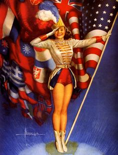 """""""The Winning Combination"""" by Rolf Armstrong. If you notice, all of the flags flying behind the American Flag are our allies in WWII. This was a beautiful image by Rolf Armstrong as the world celebrated the end of a long war. Rolf Armstrong, Pinup Art, Photo Vintage, Vintage Pins, Vintage Cards, Vintage Images, Vintage Cowgirl, 50s Vintage, Vintage Holiday"""