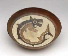 NASCA   Peru   Bowl with a Killer Whale Deity   100 BC-AD 700   Ceramic with slip