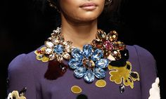 Crystal flowers at Dolce & Gabbana oversized floral crystal statement necklace Photo: VOGUE DORLY DESIGNS: Jewelry Trends: Go Big Or Go Bold For Fall 2014 Winter 2015 #fashion #style