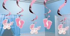 Amscan 190399 24 in. Baby Girl Hanging Swirl Ceiling Decorations